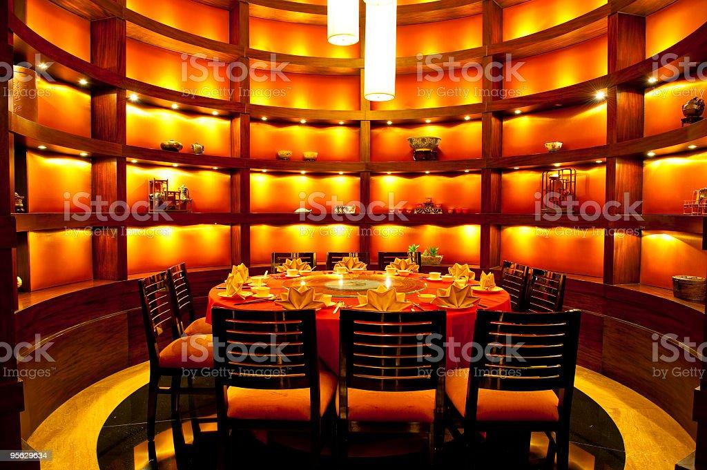 Interior of Chinese restaurant stock photo