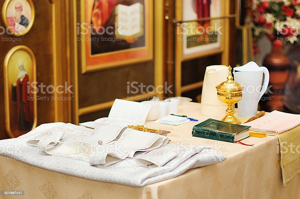 interior of Christian church in Russia stock photo