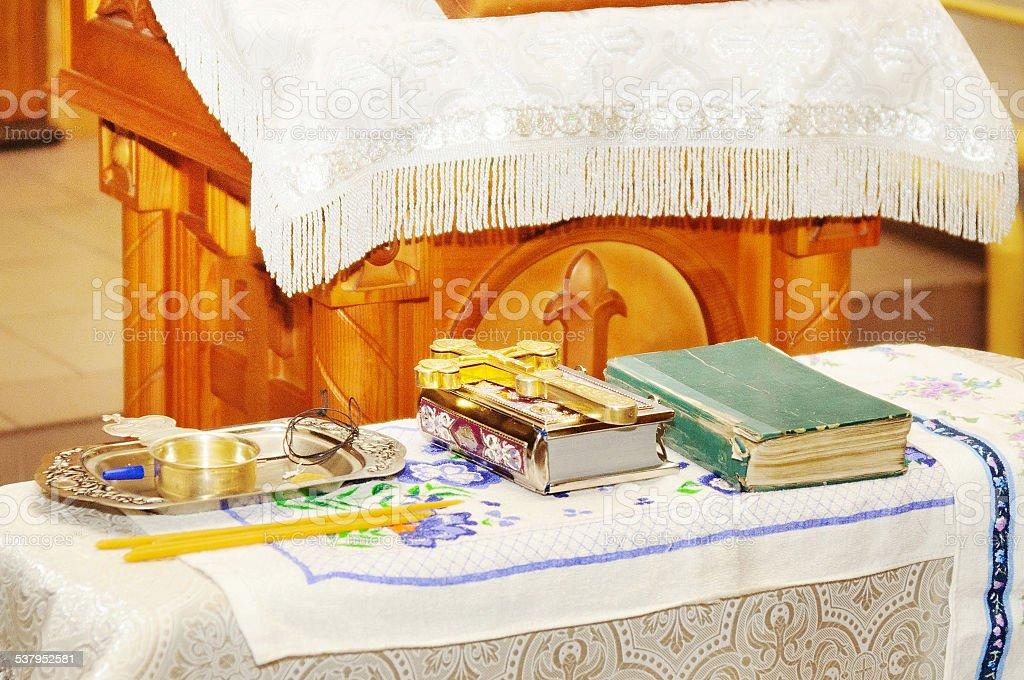 Interior of church in Russia stock photo