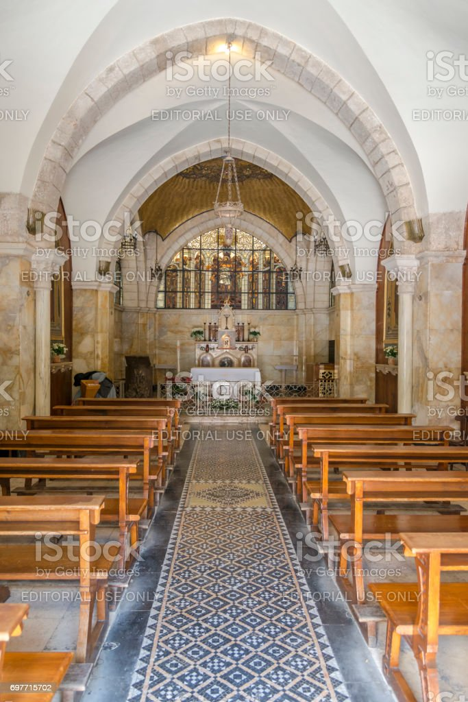 Interior of Church of the Flagellation stock photo