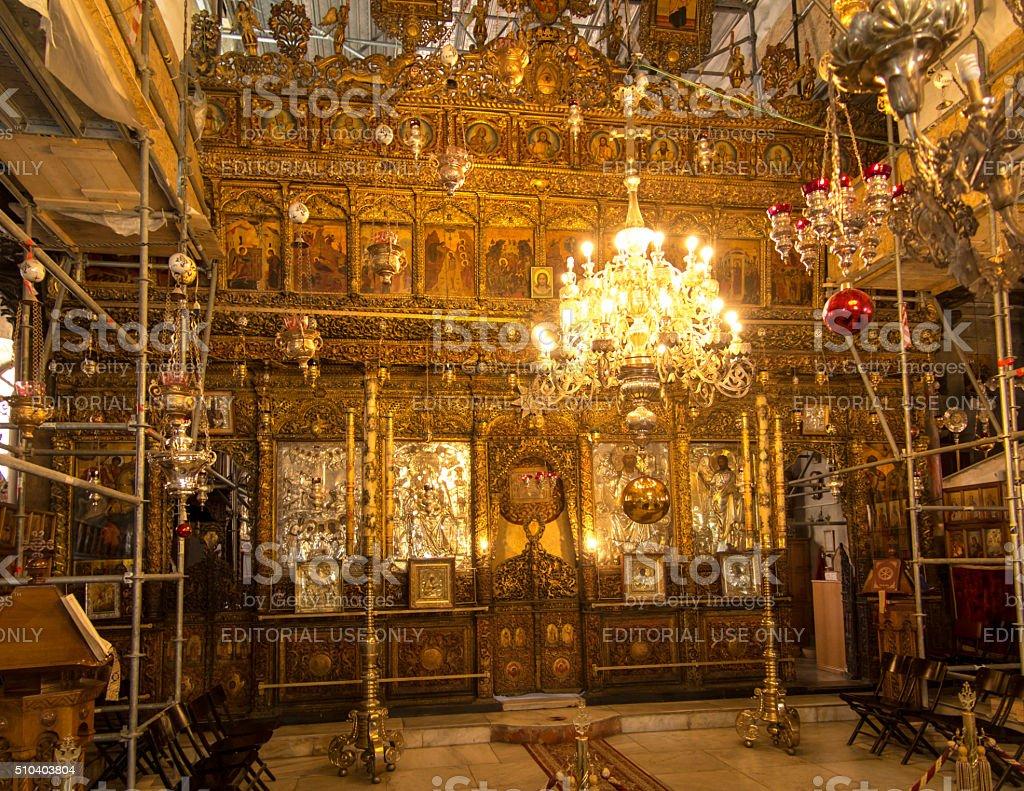 interior of Church of the Nativity Bethlehem stock photo