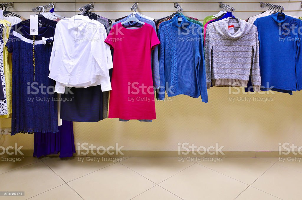 Interior of clothing store shop stock photo