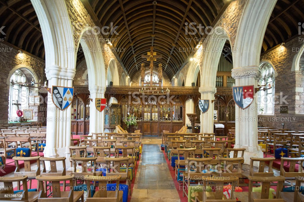 Interior of Cockington Church Circa 1069 is a historic church and is popular with visitors, Torquay, Devon, 2017 stock photo