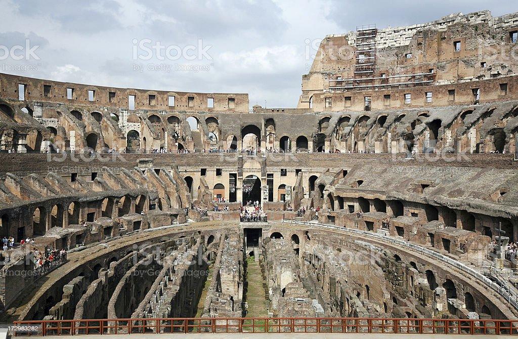 Interior of Colosseum, Rome stock photo