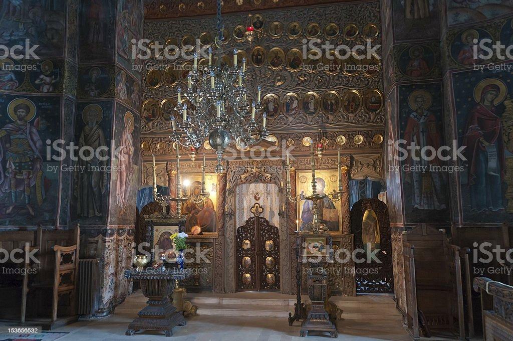 Interior of Cozia Monastery stock photo