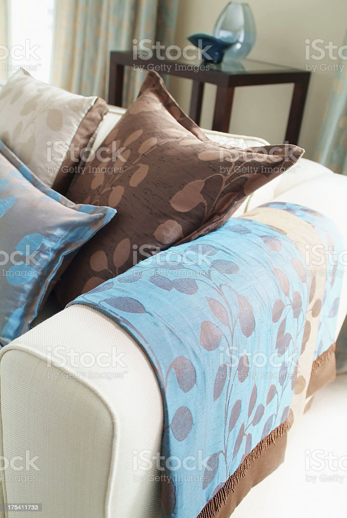 Interior of cushions settee in window royalty-free stock photo