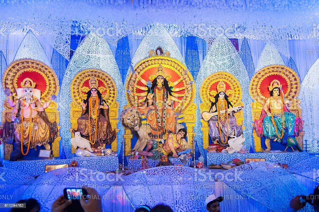 Interior of decorated Durga Puja pandal, Kolkata, West Bengal, India. stock photo
