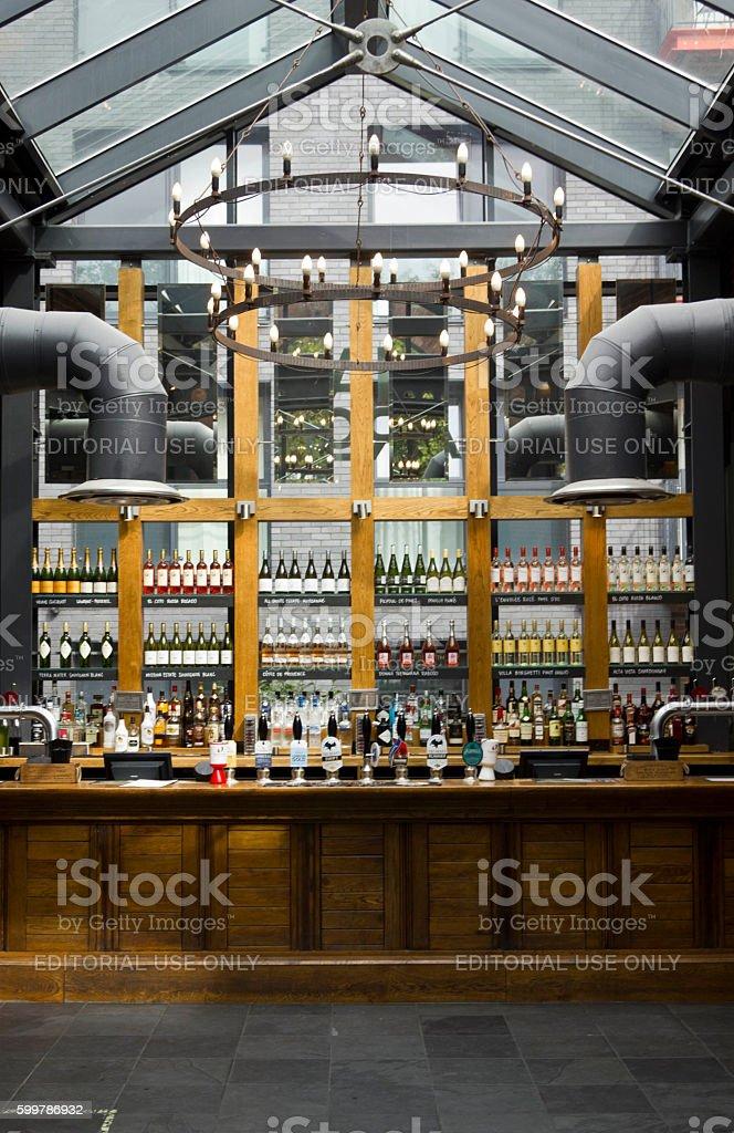 Interior of Dial Arch pub in London, historic industrial pub stock photo