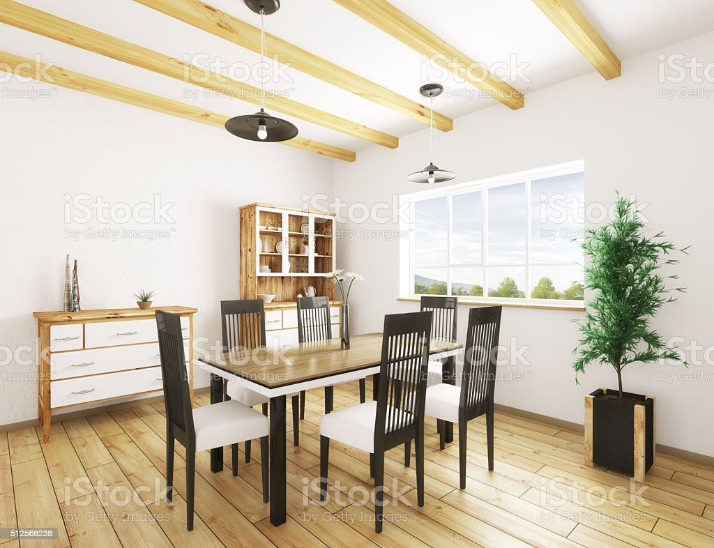 Interior of dining room 3d rendering stock photo