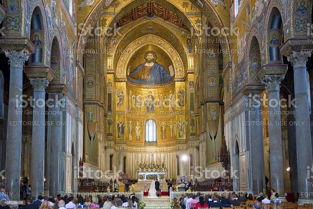interior of Duomo di Monreale, Sicily, Italy royalty-free stock photo
