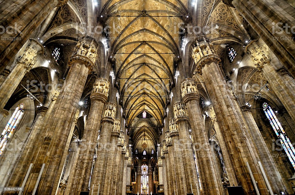 Interior of Duomo, Milan stock photo