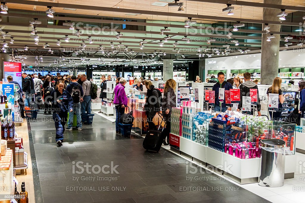 Interior of Duty Free Shop at Oslo Gardermoen Airport stock photo