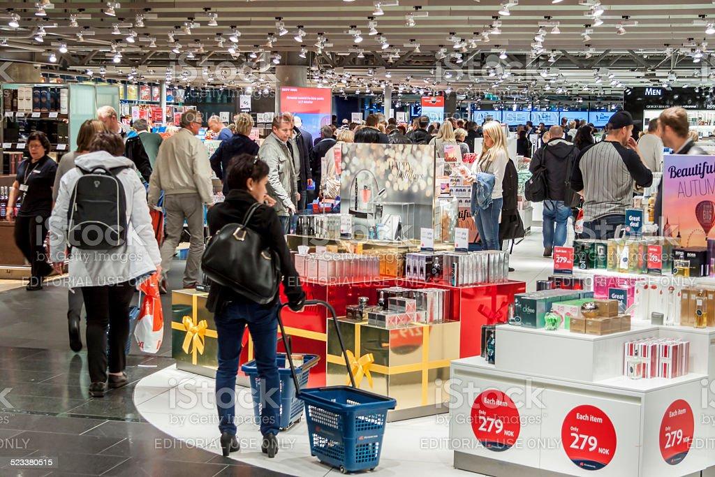 Interior of Duty Free Shop at Oslo Gardermoen International Airp stock photo