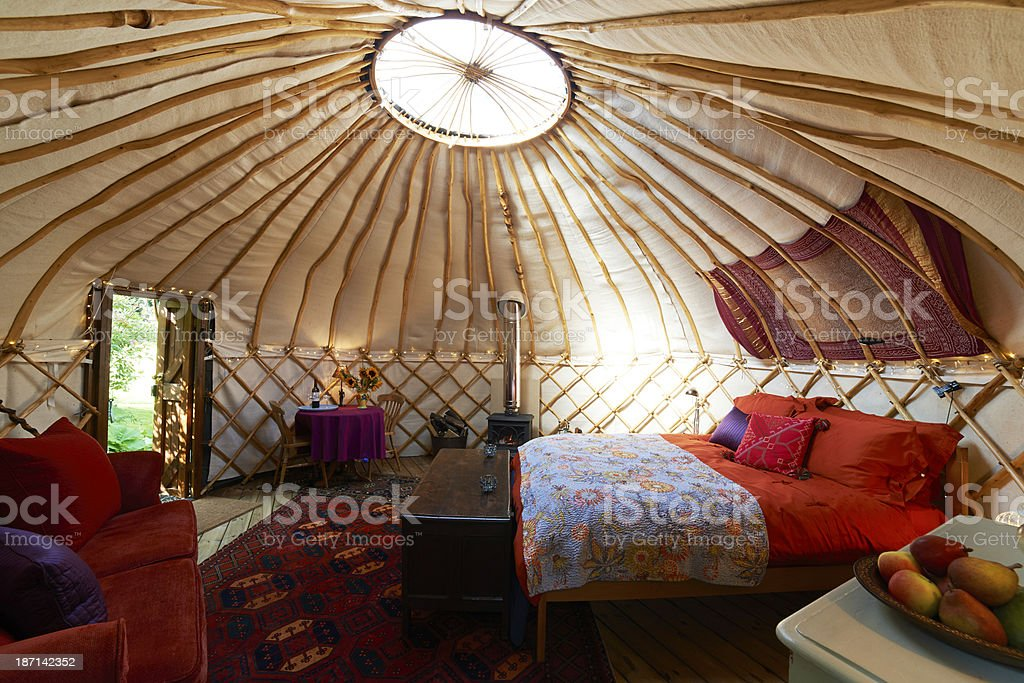 Interior Of Empty Holiday Yurt stock photo