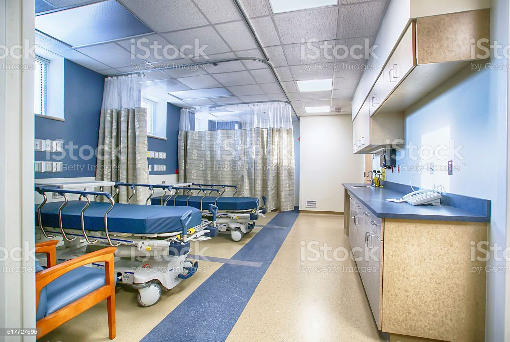Interior of empty hospital room stock photo