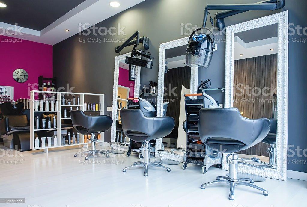 Interior of empty modern hair and beauty salon stock photo