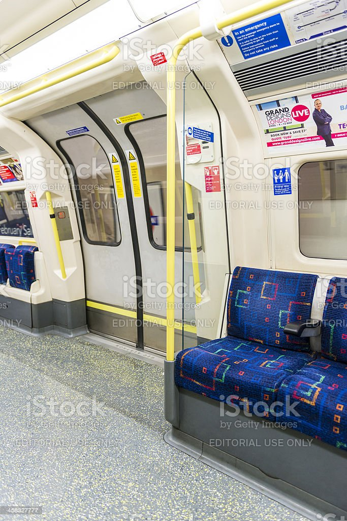 Interior of empty Northern line train royalty-free stock photo
