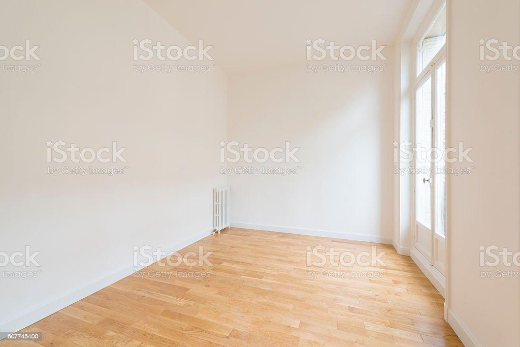 interior of empty room with parquet floor stock photo