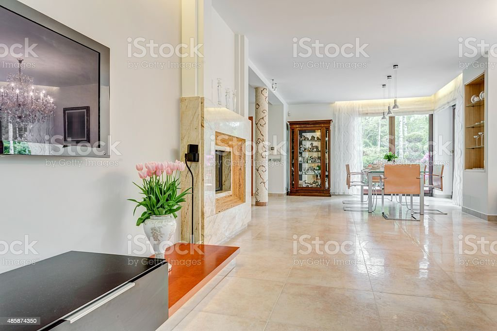 Interior of exclusive mansion stock photo