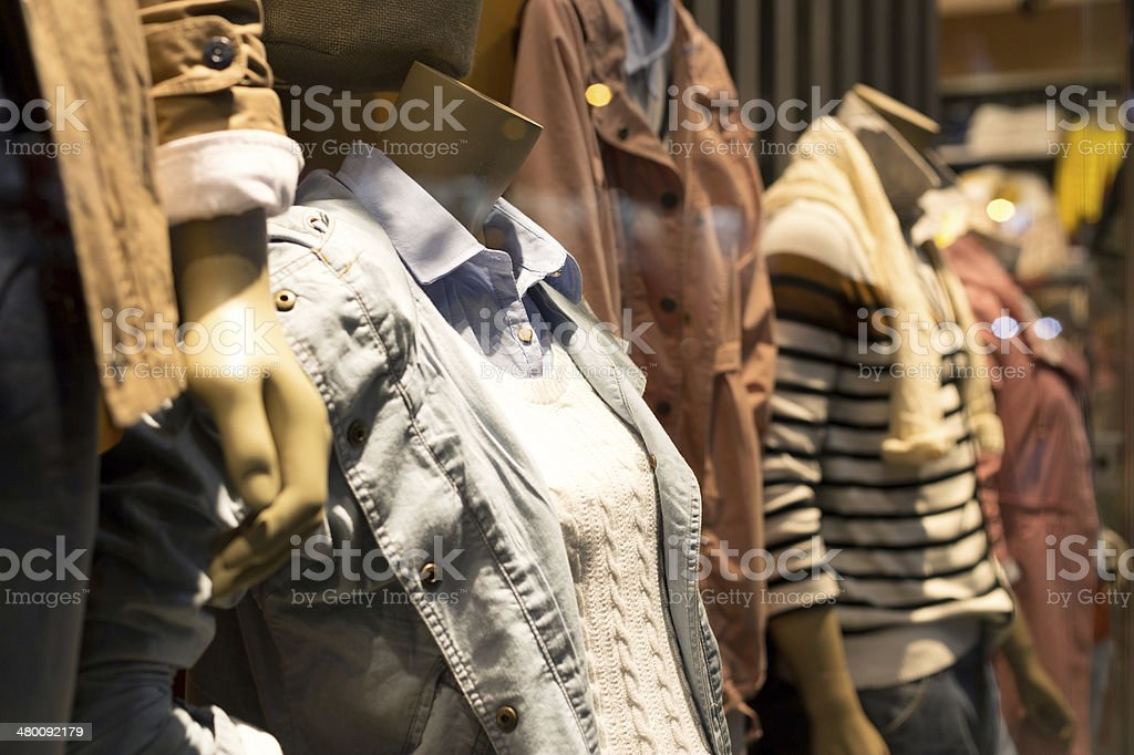 interior of  fashion clothes store stock photo
