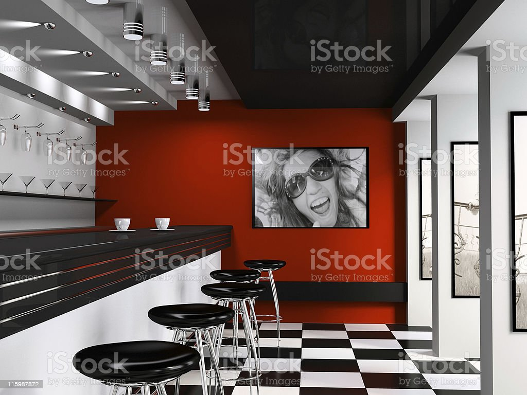 Interior of fashionable bar with cafeteria chairs stock photo