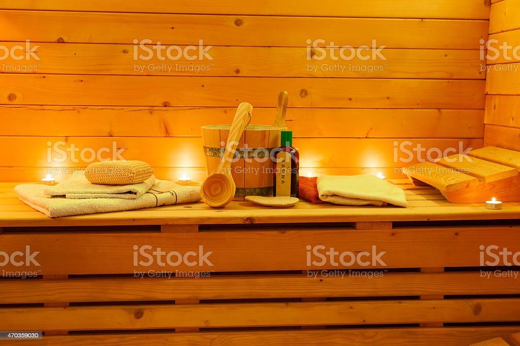 Interior of finnish Sauna and Sauna Accessories stock photo