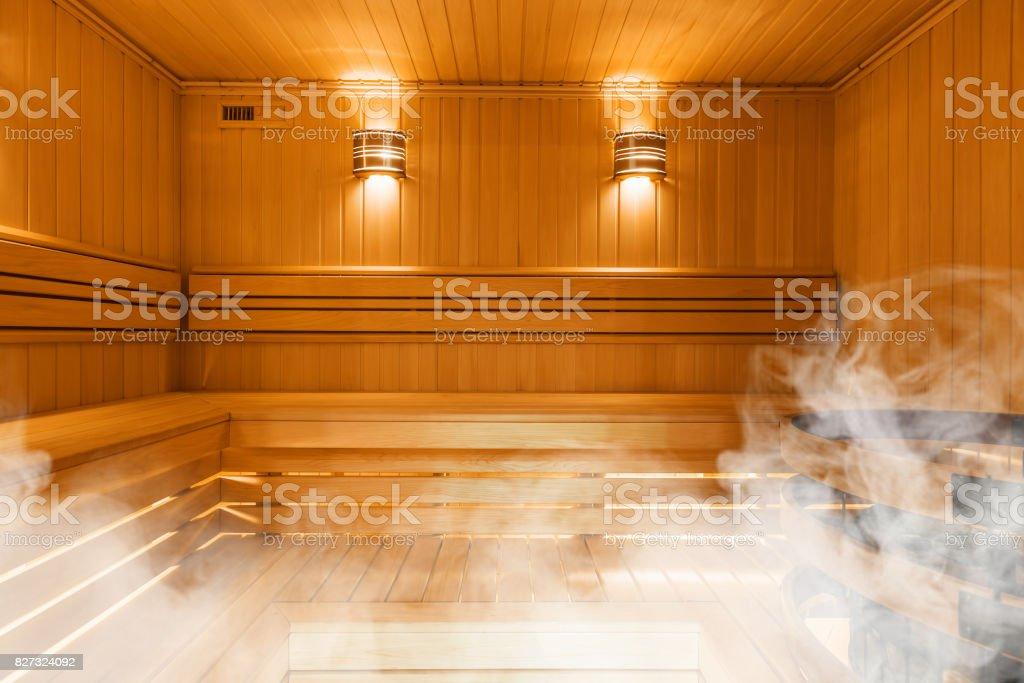 Interior of Finnish sauna, classic wooden sauna stock photo