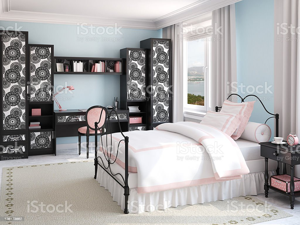 Interior of girl's bedroom. royalty-free stock photo