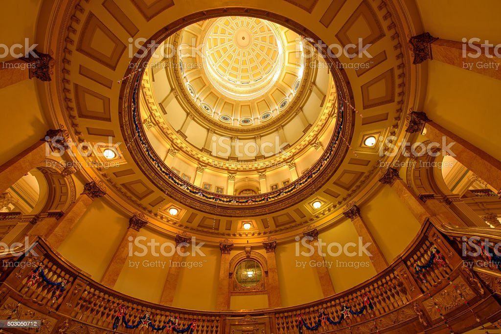 Interior of Gold Dome of Colorado State Capitol Building stock photo