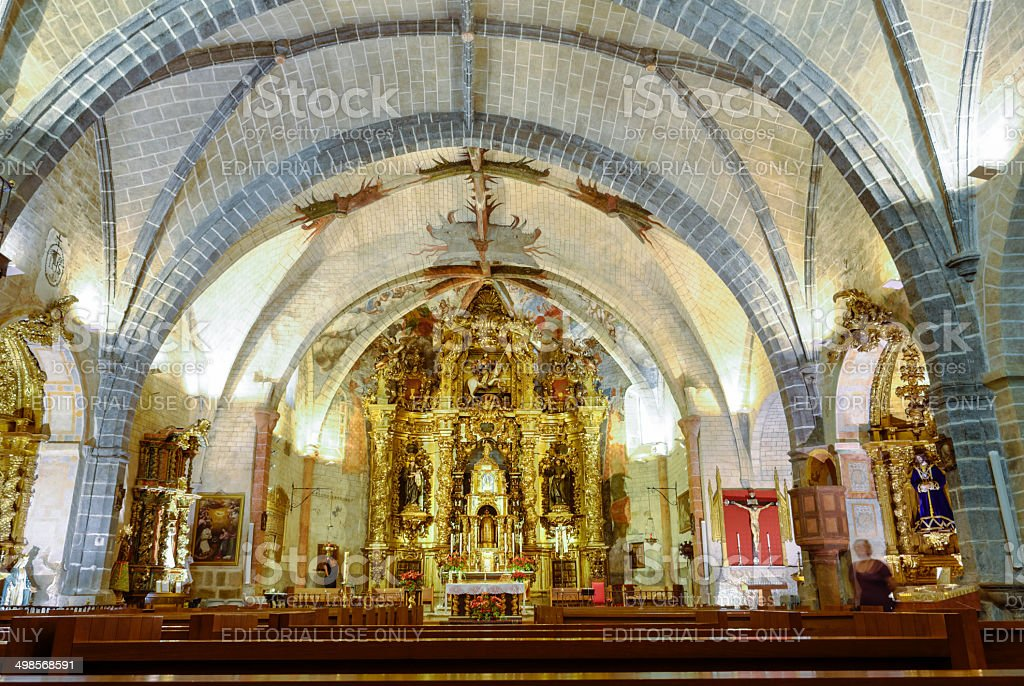 Interior of gothic church of St. James, Santiago Apostol stock photo