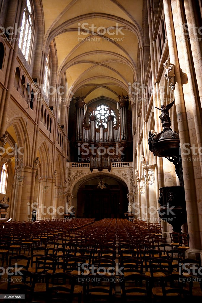 Interior of gothic style church stock photo