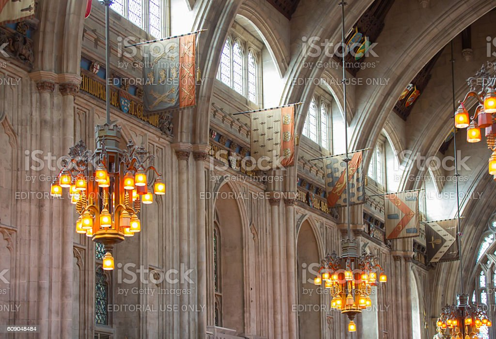 Interior of Guildhall Hall 1396. London stock photo