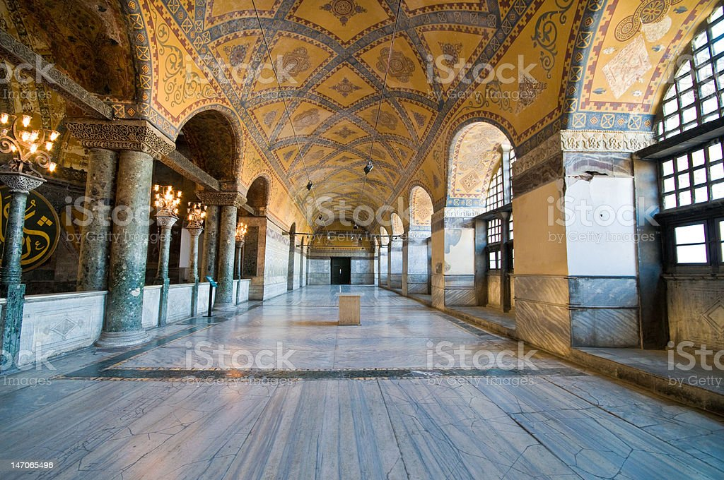 Interior of Hagia Sophia museum in Istanbul. stock photo