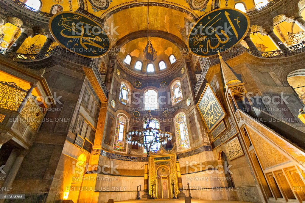 Istanbul, Turkey - April 1, 2014: Interior of Hagia Sophia with its architectural details, in Istanbul, Turkey stock photo