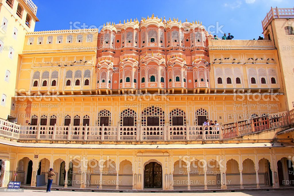 Interior of Hawa Mahal - Palace of the Winds stock photo