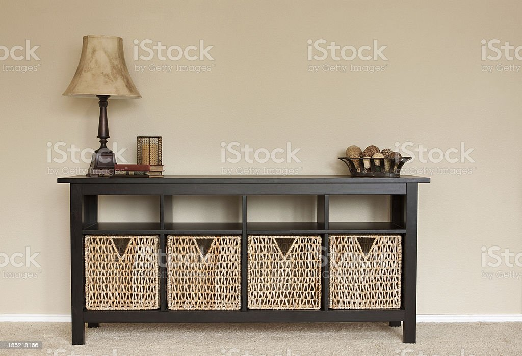 Interior of home credenza with blank wall space stock photo