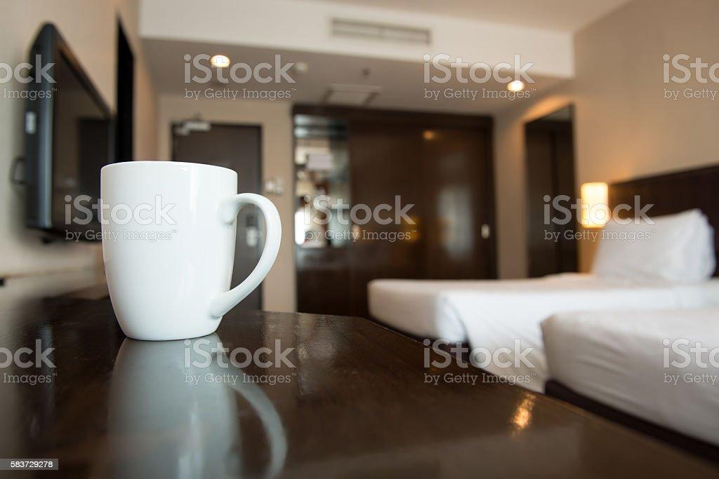 Interior of hotel bedroom stock photo