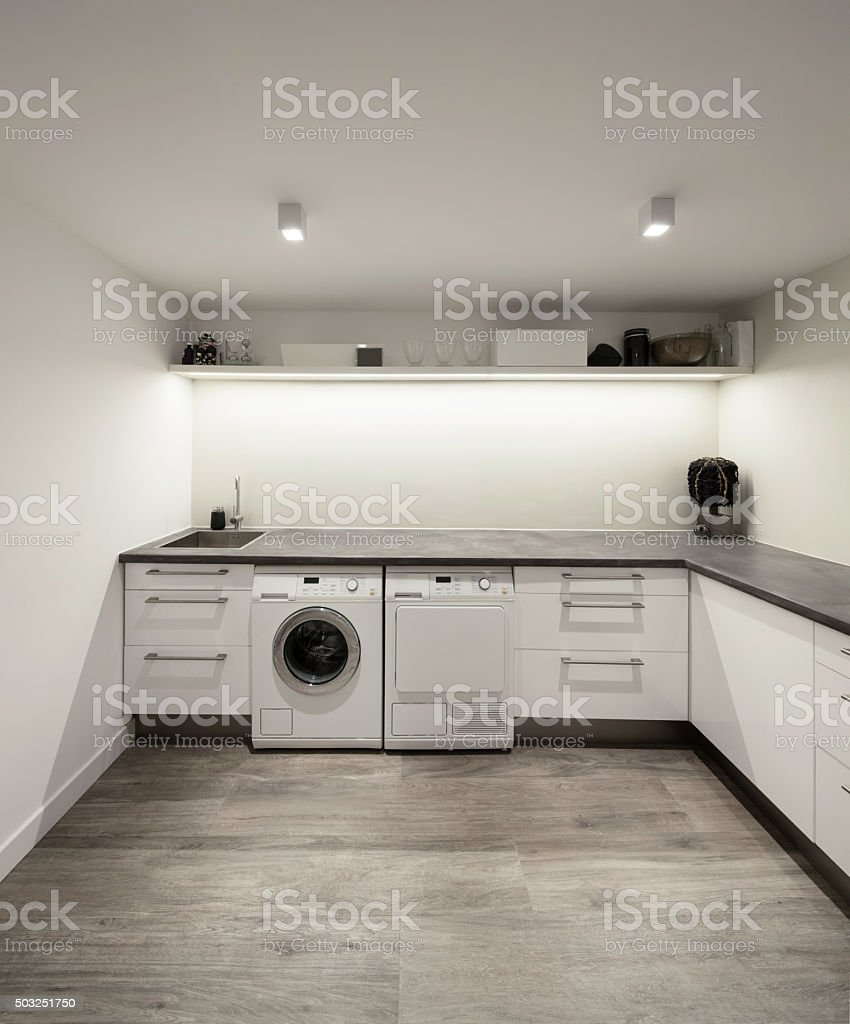 Interior of house, laundry stock photo