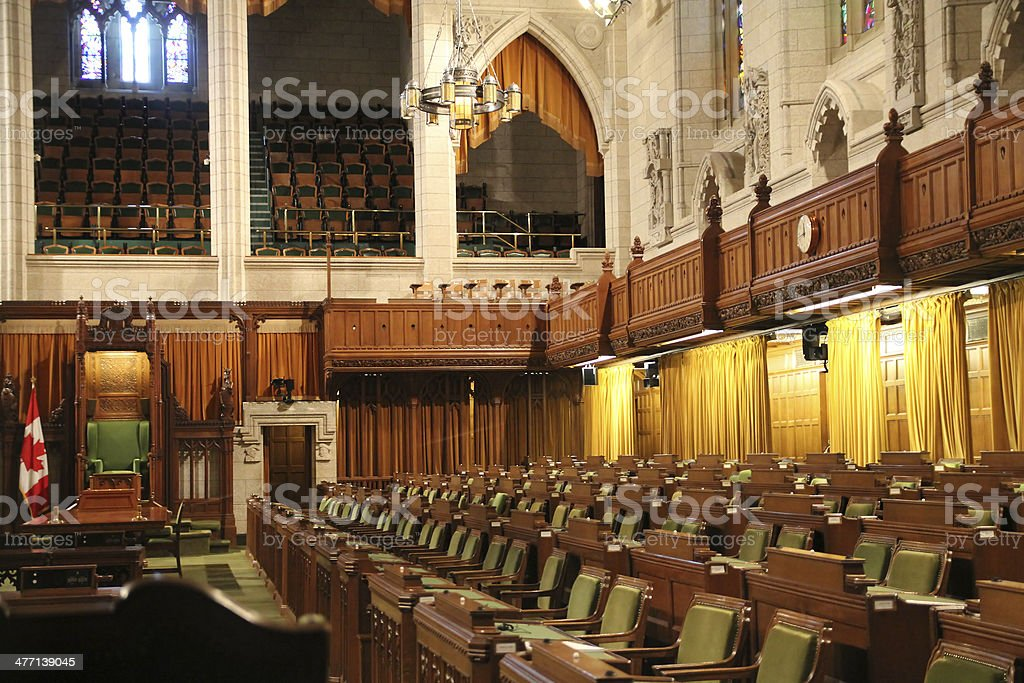 Interior of House of Commons stock photo