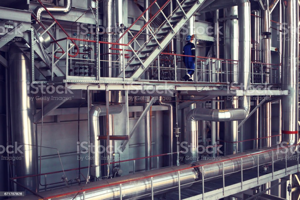 Interior of industrial factory.Photo toned in retro style. stock photo