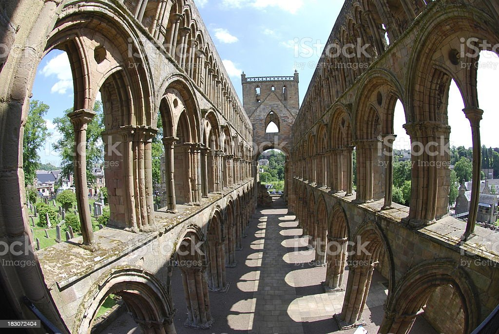 Interior of Jedburgh Abbey stock photo