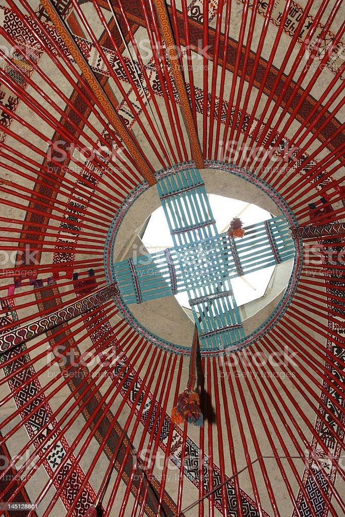 Interior of kazakh nomad's yurt royalty-free stock photo
