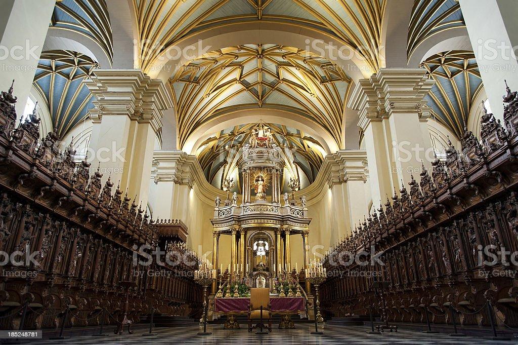 Interior of La Catedral de Lima stock photo