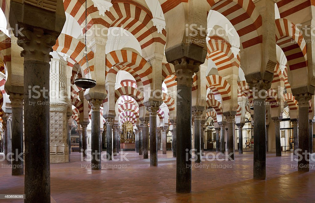Interior of La Mezquita Cathedral (Córdoba Mosque) stock photo