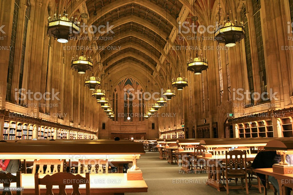 Interior of library at the University of Washington in Seattle stock photo