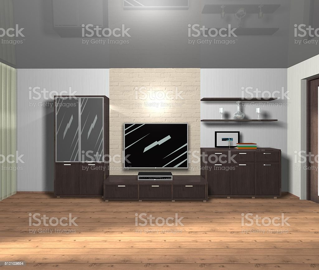 interior of living room 3D rendering stock photo