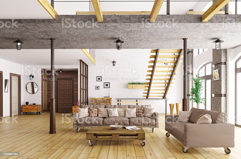 Interior of living room and hall 3d rendering stock photo