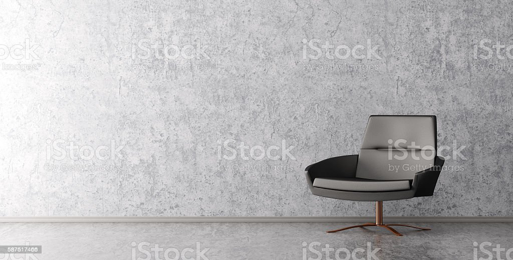 Interior of living room with armchair 3d rendering stock photo