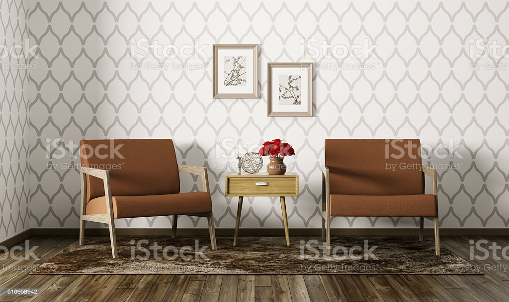 Interior of living room with armchairs 3d render stock photo