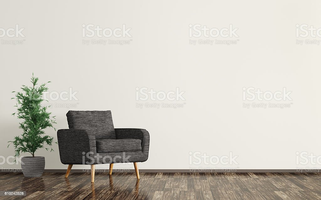 Interior of living room with black armchair 3d rendering stock photo